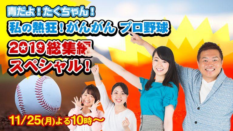 11月25日(月)プロ野球選手が生出演!MBCラジオ『青だよ!たくちゃん!私の熱狂!がんがん プロ野球2019総集編スペシャル』